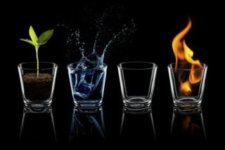 Classical elements - Earth Water Air Fire Glass